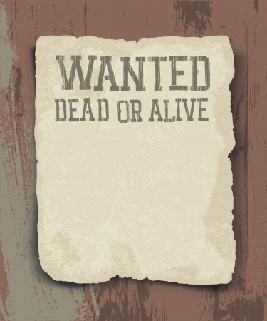 Wanted dead or alive  Vintage poster Vector