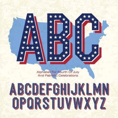 愛国心: 7 月 4 と愛国心が強い祭典のためのアルファベット。ベクトル、EPS10