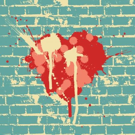 落書き: レンガの壁上のシンボルの心、ベクトルします。