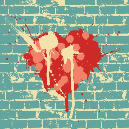 painted wall: Heart symbol on brick wall, vector. Illustration