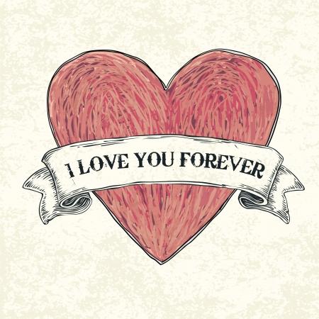 te amo: Te amo para siempre. Ilustraci�n del vector, eps10