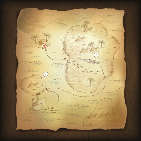 mappa del tesoro: Mappa del tesoro su sfondo di legno. Vettoriali