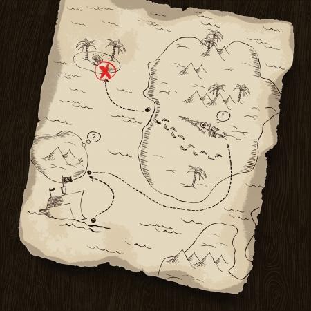 schatkaart: Schatkaart op houten achtergrond. Kaart onder masker, kunt u de locatie. Stock Illustratie