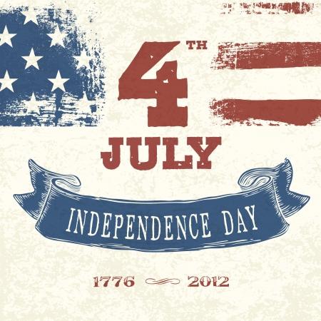 愛国心: ビンテージ スタイルのカード第 4 7 月の祭典のため。ベクトル、EPS10  イラスト・ベクター素材