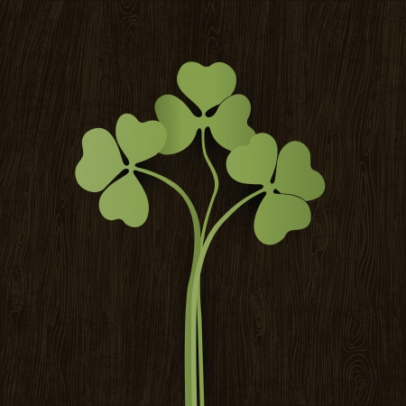 Clover leaves on wooden weathered texture. Vector, EPS10. Vector