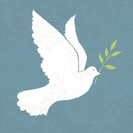 Dove with olive branch. Vector illustration, EPS 10 Vector