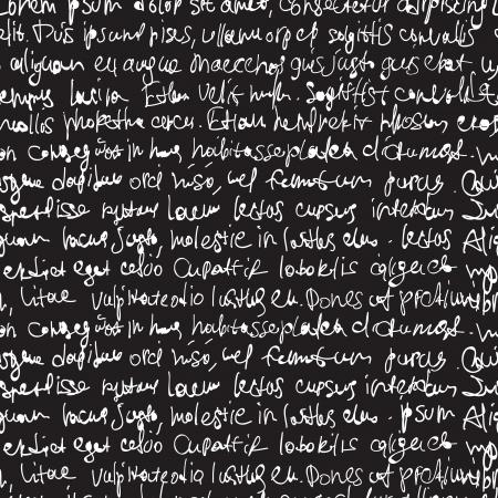 Abstract expressief handschrift op zwarte achtergrond Naadloze patroon, vector, EPS10