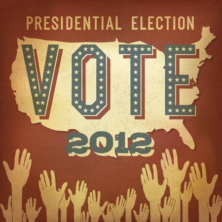 nomination: Las elecciones presidenciales de 2012. Dise�o del cartel retro, vector, EPS 10.