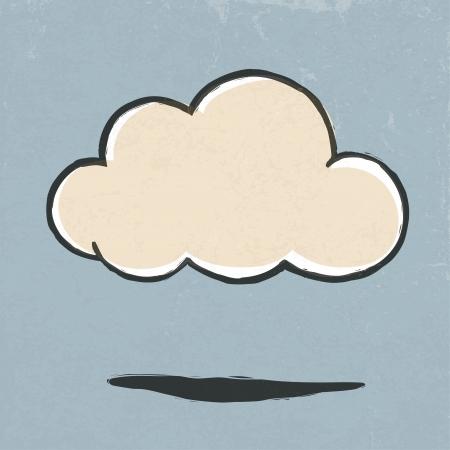 cloud hosting: Cloud retro icon.