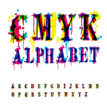 CMYk alphabet. Composition from unrecognized different letters and drops and streaks. Contains three separate layers, easily edit and mix colors. photo
