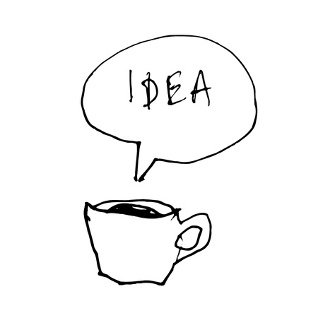 Coffee cup symbol with idea word in speech bubble. Hand-drawn illustration illustration