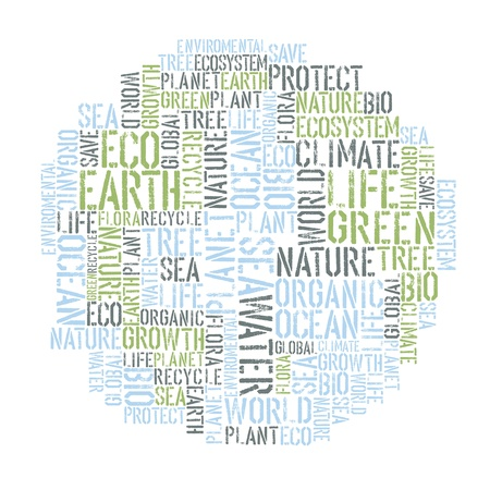 Ecology Earth concept word collage. Environmental poster design template. photo