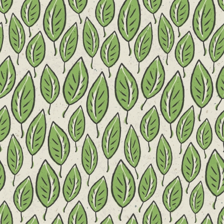 Green abstract leaf seamless pattern on recycle ecology paper texture.  photo