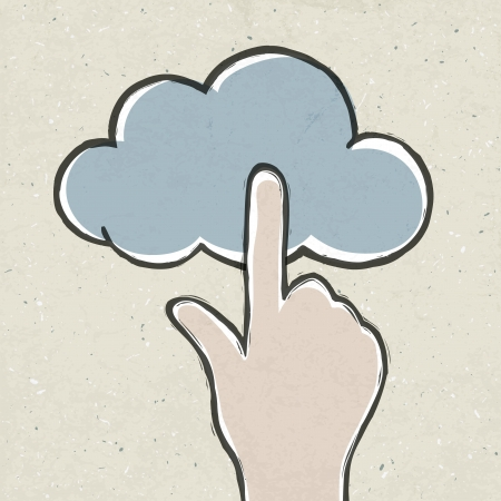 Hand clicking cloud icon Stock Photo - 14707465