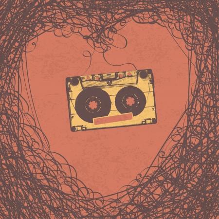 Loving retro music retro poster design Stock Photo