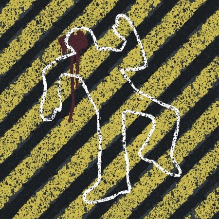 vermoord: Moord Silhouet op gele gevaar lijnen. Voorkomen van ongevallen of plaats delict concept illustratie Stockfoto