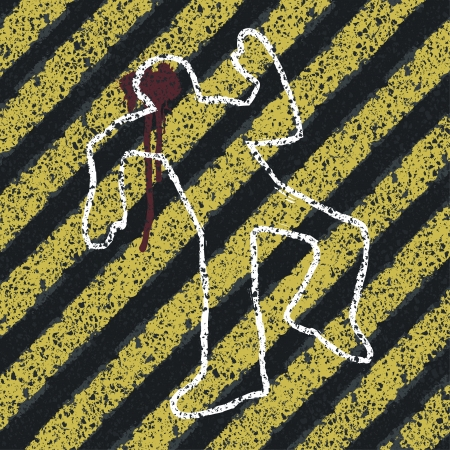 murder: Murder Silhouette on yellow hazard lines. Accident prevention or crime scene concept illustration Stock Photo