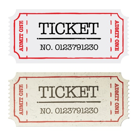 theater seats: Vintage paper ticket, two versions  Stock Photo