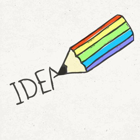 Pencil and idea word. photo