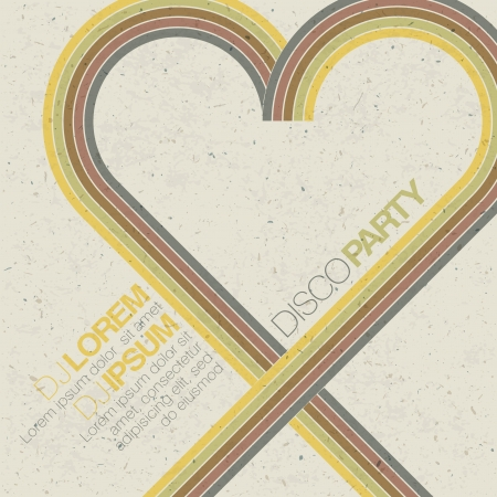 Vintage disco party invitation with heart shaped lines. Abstract flyer design  photo