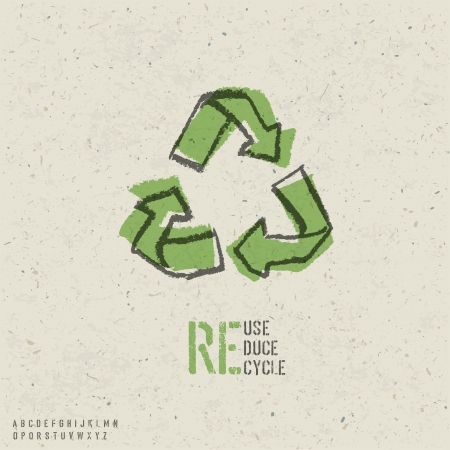 recycled: Reuse, reduce, recycle poster design.  Include reuse symbol image, seamless reuse paper texture in swatch palette and stencil alphabet.
