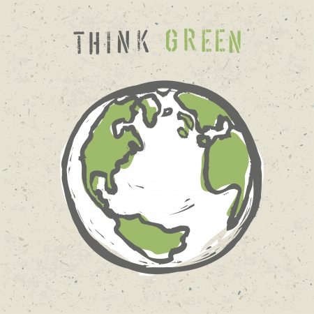 world globe map: Think green poster design template  Stock Photo