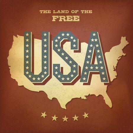 usa map: USA abstract retro poster design  Stock Photo