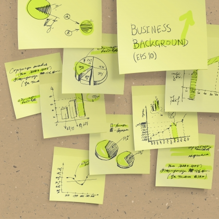 cork board: Yellow sticky notes with business infographics on cork board, closeup.