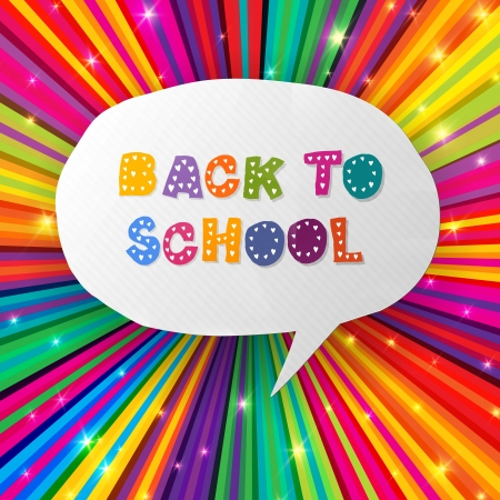 Back to school words in speech bubble on colorful rays   Vector