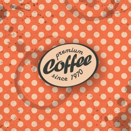 Coffee themed retro background, vector  EPS10