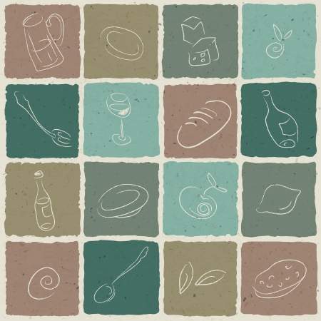 lunch box: Restaurant icons tiled retro background,