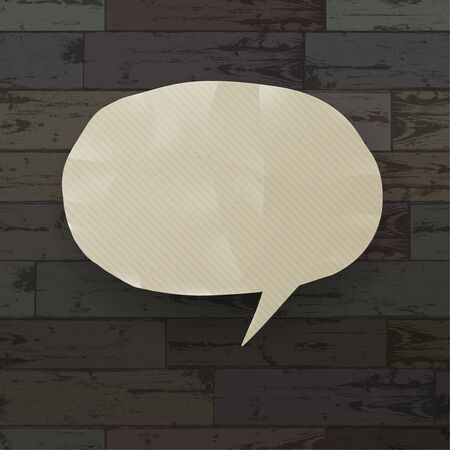 Speech bubble on wooden texture background  Vector illustration, EPS10 Vector