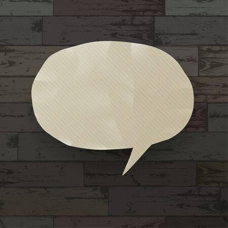 Speech bubble on wooden texture background  Vector illustration, EPS10 Vector