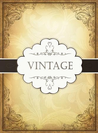 corner border: Vintage background with ornamental frame