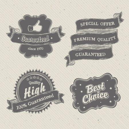Vintage hand-drawn labels collection on textured paper Stock Vector - 14894790