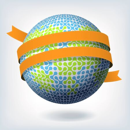 Abstract globe symbol with orange ribbon Stock Vector - 14895058