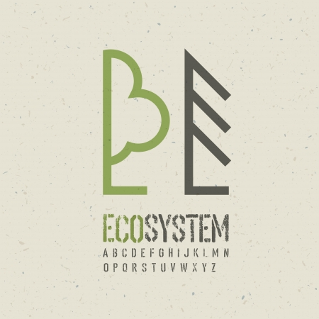 recycled paper: Ecological emblem template  Illustration