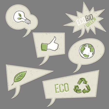 ecology emblem: Ecology icons in speech bubbles