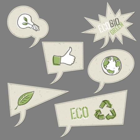 reciclaje de papel: Iconos de la ecología en las burbujas del discurso Vectores