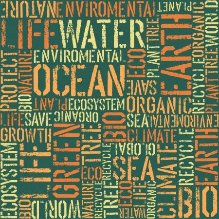 conservacion del agua: Naturaleza palabras seamless pattern Vectores