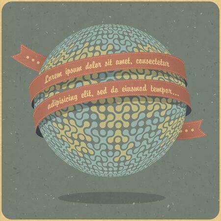 Retro globe symbol with ribbon and sample text