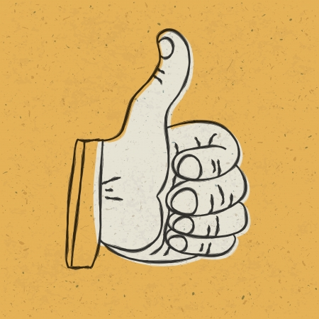 feedback link: Retro styled thumb up symbol on yellow textured background