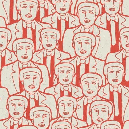 Abstract crowd of business mens. Seamless pattern