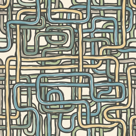 Seamless tangled wires retro background.  Vector