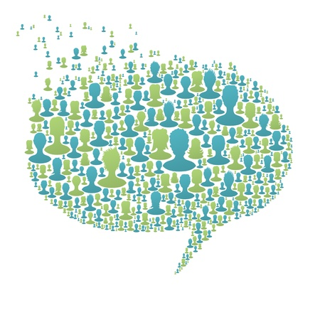chat up: Speech bubble, composed from many people silhouettes. Social network concept