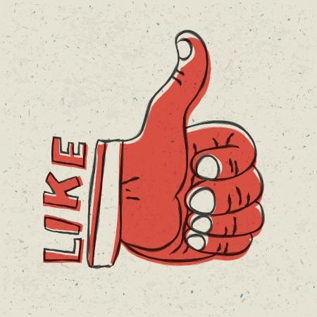 thumb: Thumb up symbol. Retro styled