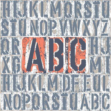 letterpress: Vintage letterpress printing blocks alhpabet. Grouped separately  Illustration