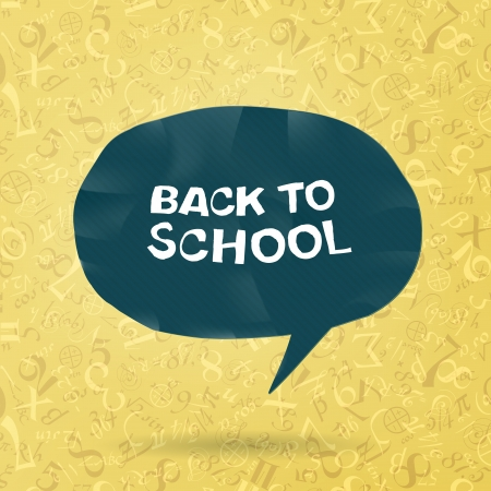 secondary school: Back to school text in speech bubble on figures and formulas background