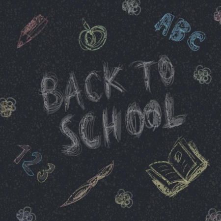 Back to school  Written by chalk on the asphalt background Vector