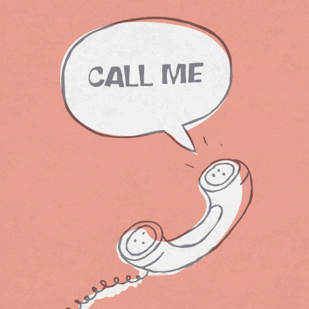 vintage telephone: Vintage handset with speech_bubble_and sample text Illustration